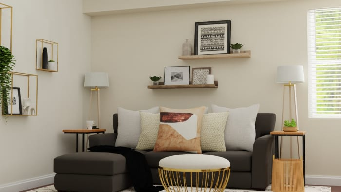 Small Spaces:  Mid Century Glam Living Room Design View 2 By Spacejoy