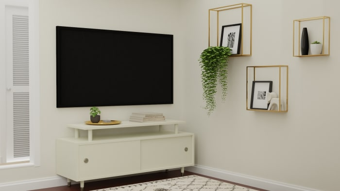 Small Spaces:  Mid Century Glam Living Room Design View 3 By Spacejoy