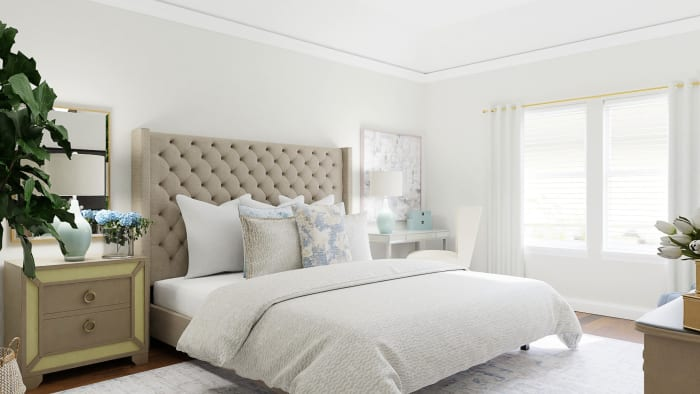 Statement Headboard: Classic Traditional Bedroom Design View 2 By Spacejoy