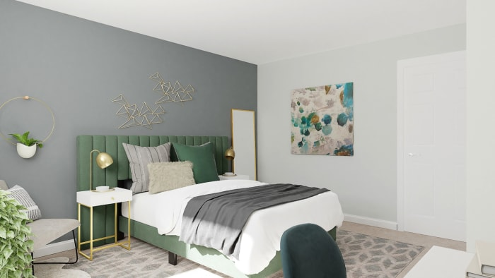 Green Velvets: Modern Glam Bedroom Design View 2 By Spacejoy