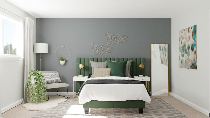 Green Velvets: Modern Glam Bedroom Design View 3 By Spacejoy
