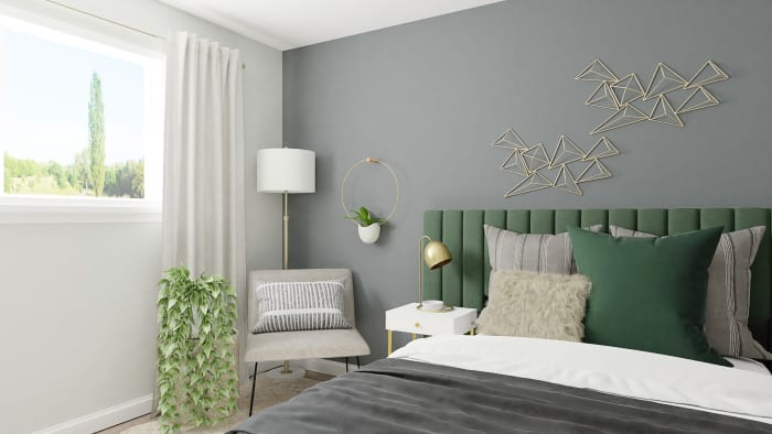 Green Velvets: Modern Glam Bedroom Design View 4 By Spacejoy