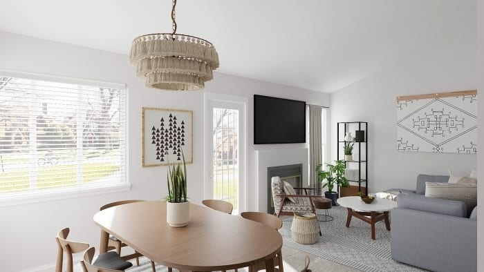 Whimsical Chandelier: Mid-Century Eclectic Dining Room Design View 4 By Spacejoy