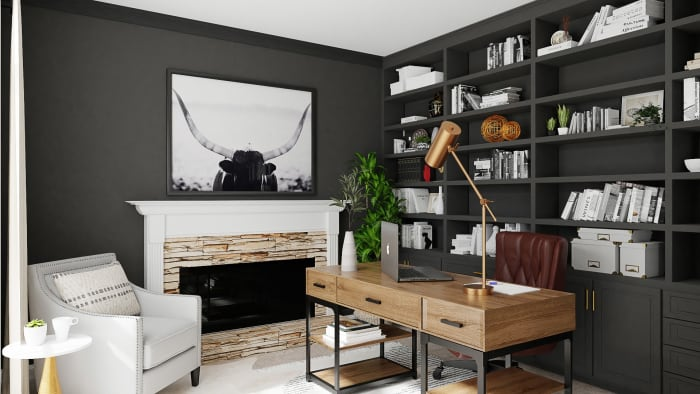 Masculine Workspace: Urban Farmhouse Home Office Design View 2 By Spacejoy