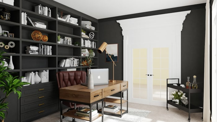 Masculine Workspace: Urban Farmhouse Home Office Design View 3 By Spacejoy