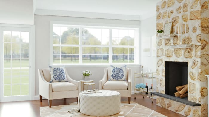 Reading Retreat: Glam Transitional Living Room Design View 2 By Spacejoy