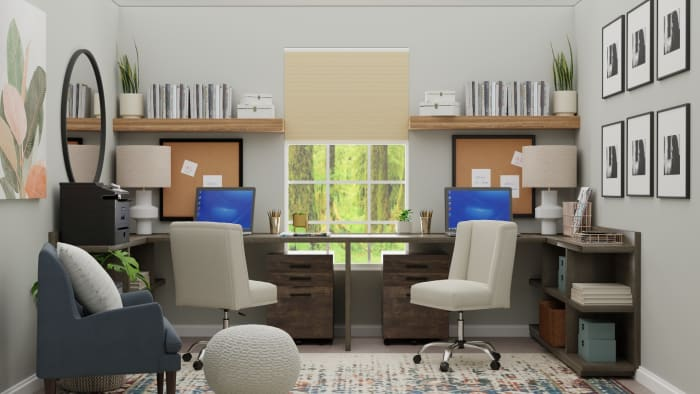 Multi Person Work Space: Urban Eclectic Home Office Design View 5 By Spacejoy