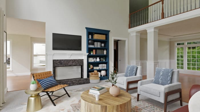 Statement Bookshelves:  Rustic Transitional Living Room Design View 3 By Spacejoy