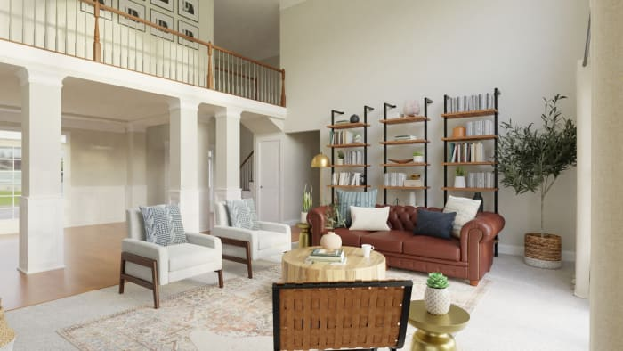 Statement Bookshelves:  Rustic Transitional Living Room Design View 4 By Spacejoy