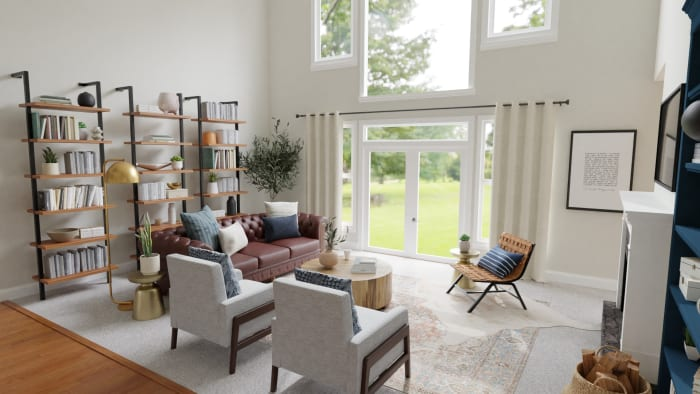 Statement Bookshelves:  Rustic Transitional Living Room Design View 5 By Spacejoy