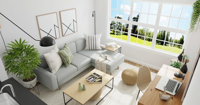 Small Space Living Area: Minimalist Living Room Design View 3 By Spacejoy