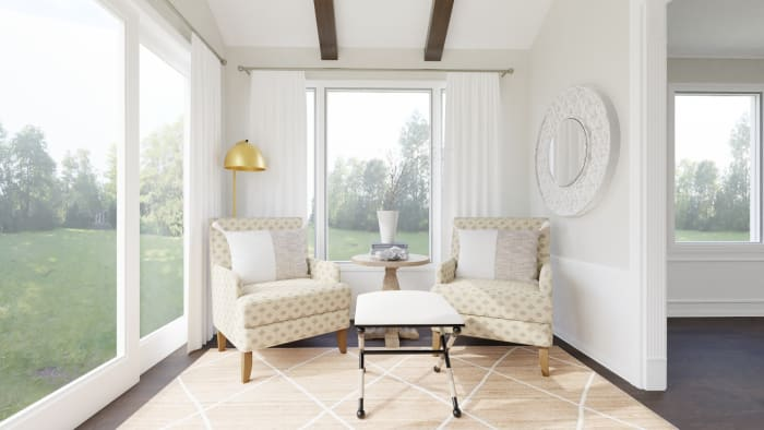 Morning Sun Room:  French Country Coastal Morning Room Design View 3 By Spacejoy