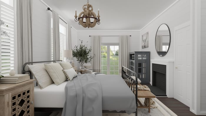 Weekend Retreat: French Country Farmhouse Bedroom Design View 3 By Spacejoy