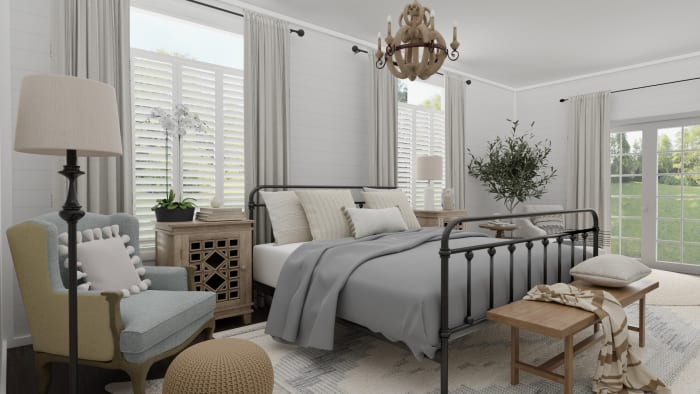 Weekend Retreat: French Country Farmhouse Bedroom Design View 5 By Spacejoy