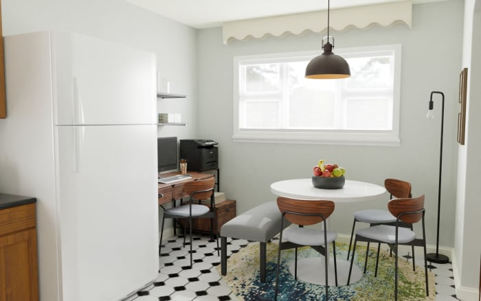 Multi Functional Space:  Urban Mid Century Dining Room Design View 2 By Spacejoy