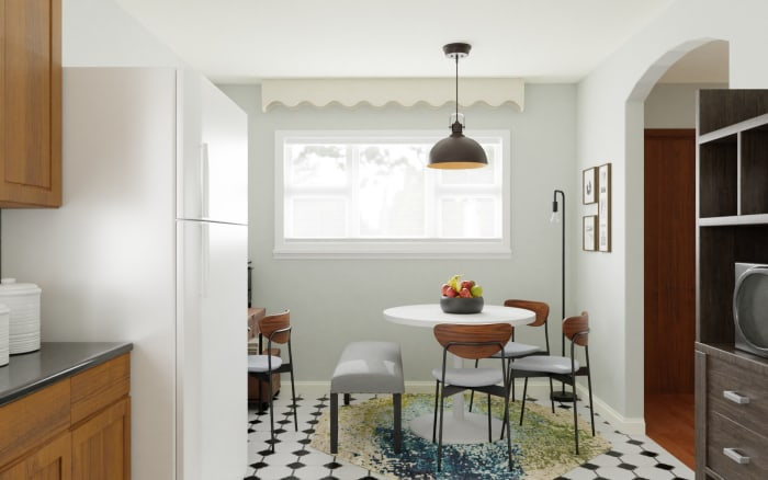 Multi Functional Space:  Urban Mid Century Dining Room Design View 3 By Spacejoy