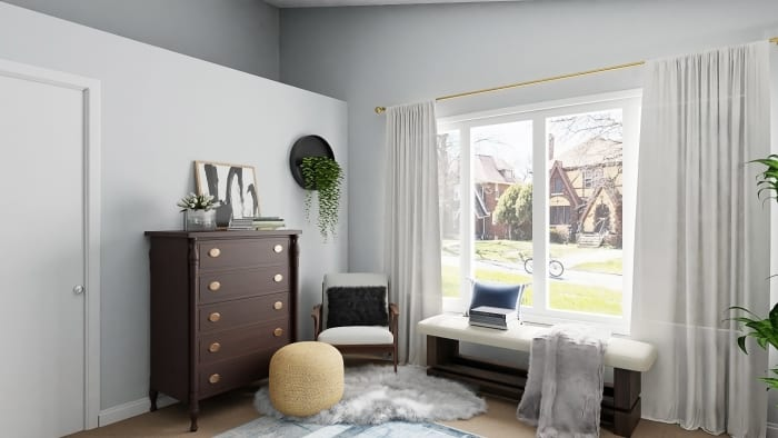 Reading Nook: Urban Transitional Bedroom Design View 4 By Spacejoy