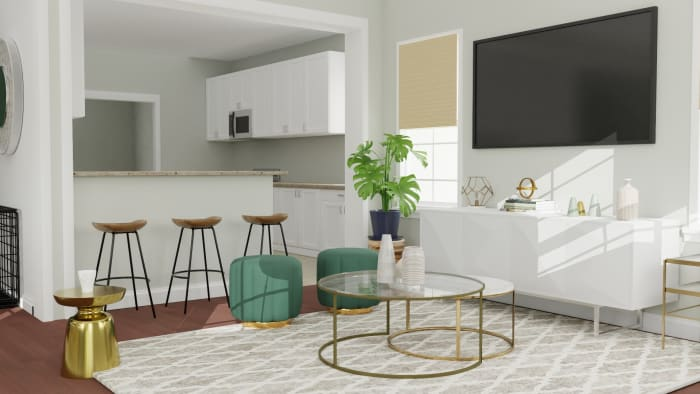 Emerald Accents: Modern Glam Open Plan Living Room Design View 3 By Spacejoy