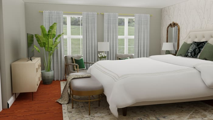 Statement Wallpaper: Glam Transitional Bedroom Design View 3 By Spacejoy