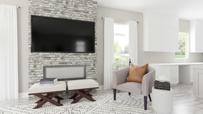 Leather Accents: Urban Modern Living Room Design View 4 By Spacejoy