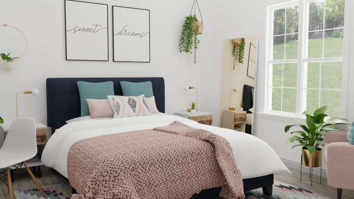 Blush and Teal: Modern Boho Bedroom Design View 3 By Spacejoy