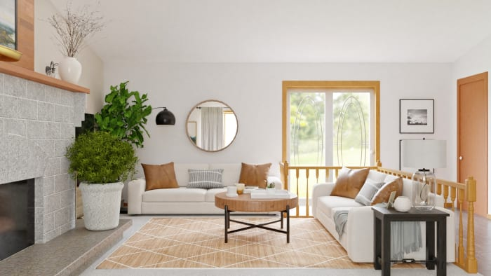 Open Plan Living:  Modern Bohemian Living Room Design View 3 By Spacejoy