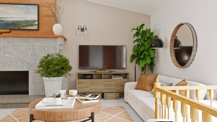 Open Plan Living:  Modern Bohemian Living Room Design View 4 By Spacejoy