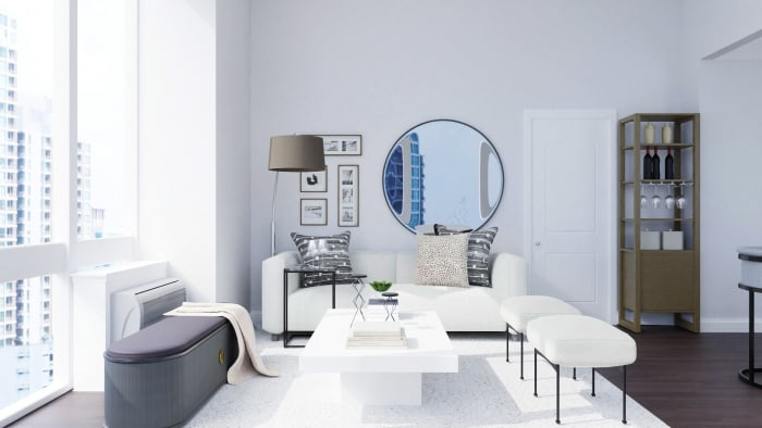 Black and White: Modern Industrial Living Room Design View 3 By Spacejoy