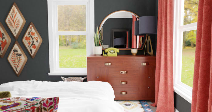 Black & Grapefruit: Eclectic Transitional Bedroom Design View 2 By Spacejoy