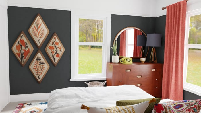 Black & Grapefruit: Eclectic Transitional Bedroom Design View 3 By Spacejoy