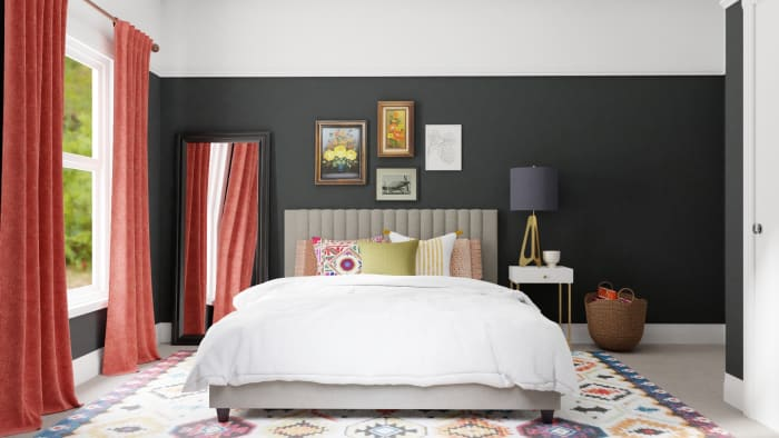 Black & Grapefruit: Eclectic Transitional Bedroom Design View 4 By Spacejoy