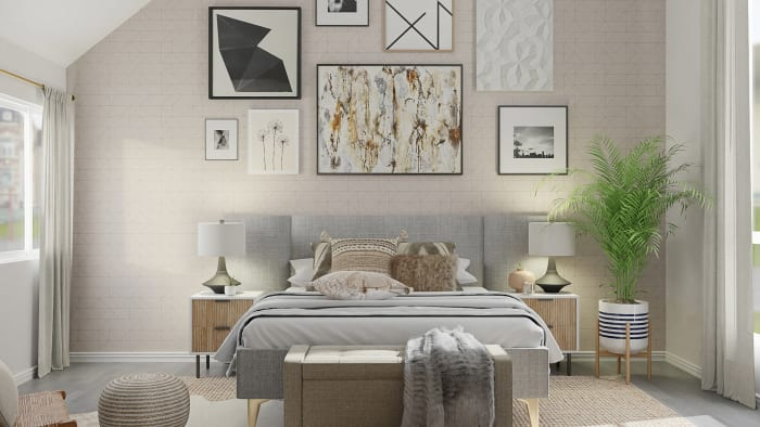 Eclectic Gallery Wall: Urban Boho Bedroom Design View 2 By Spacejoy