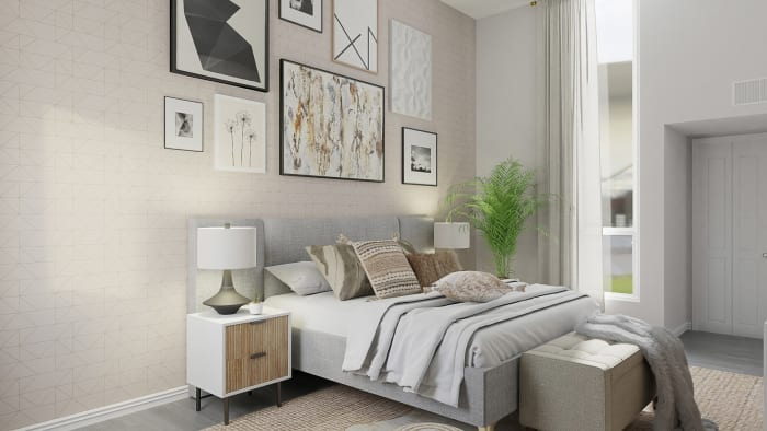 Eclectic Gallery Wall: Urban Boho Bedroom Design View 3 By Spacejoy