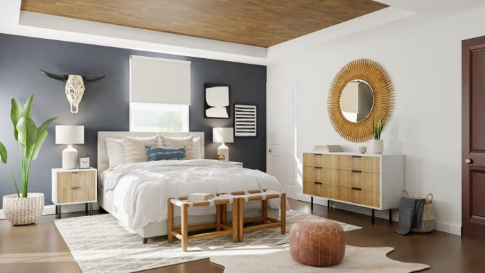 Warm Woods:  Mid Century Boho Bedroom Design View 3 By Spacejoy