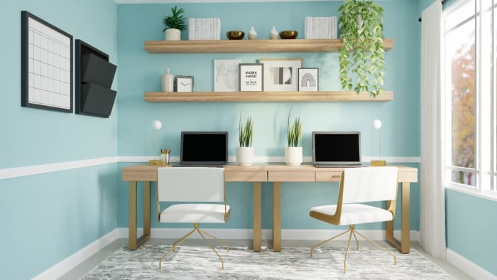 Sea of Aqua:  Mid-Century Boho Home Office Design View 2 By Spacejoy