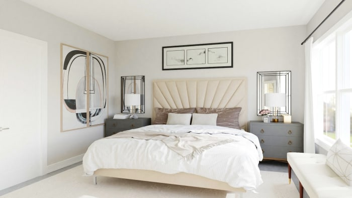 Ivory Dream: Elegant Transitional Bedroom Design View 2 By Spacejoy