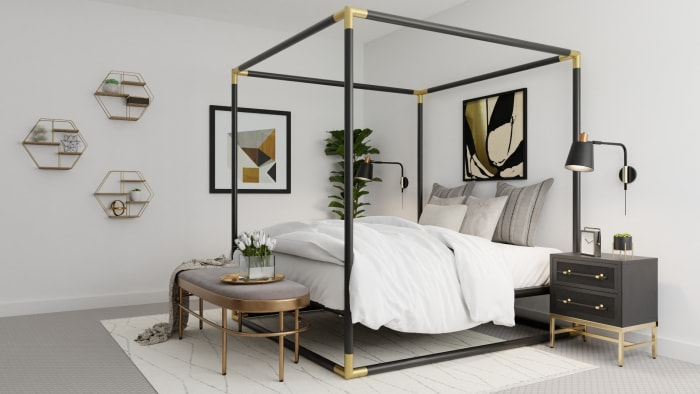 Statement Canopy Bed: Modern Glam Bedroom Design View 3 By Spacejoy