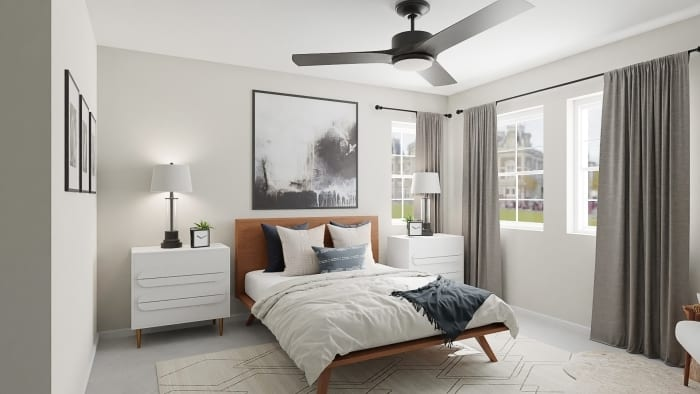 Abstract Artwork:  Mid-Century Urban Bedroom Design View 2 By Spacejoy