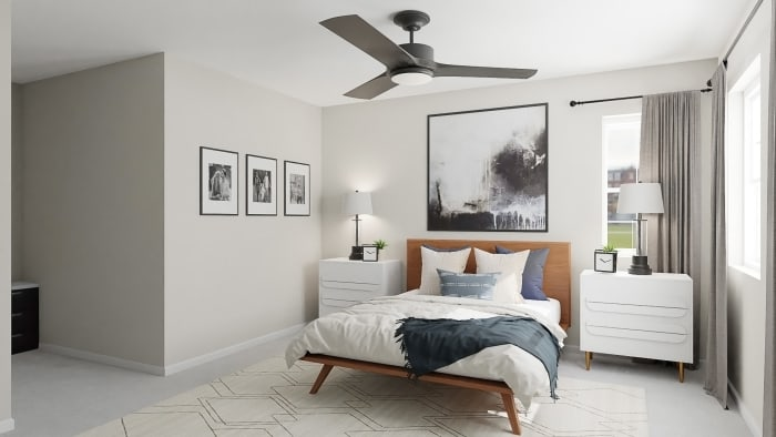 Abstract Artwork:  Mid-Century Urban Bedroom Design View 3 By Spacejoy