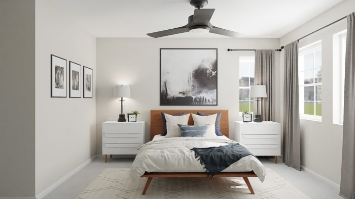 Abstract Artwork:  Mid-Century Urban Bedroom Design View 4 By Spacejoy