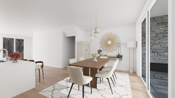 Entertainer's Haven: Modern Glam Dining Room Design View 3 By Spacejoy