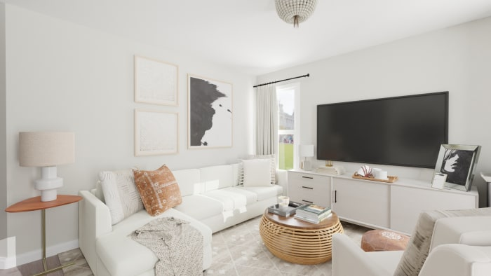 Summer Escape:  Scandinavian Entertainment Room Design View 2 By Spacejoy