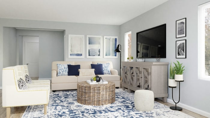Conversational Seating: Coastal Transitional Living Room Design View 2 By Spacejoy