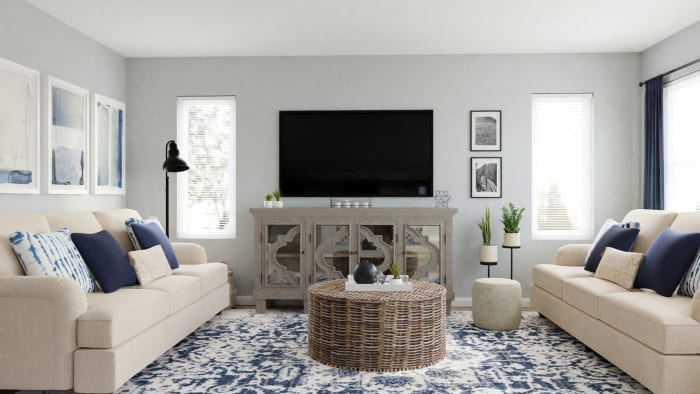 Conversational Seating: Coastal Transitional Living Room Design View 3 By Spacejoy