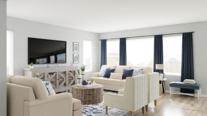 Conversational Seating: Coastal Transitional Living Room Design View 5 By Spacejoy