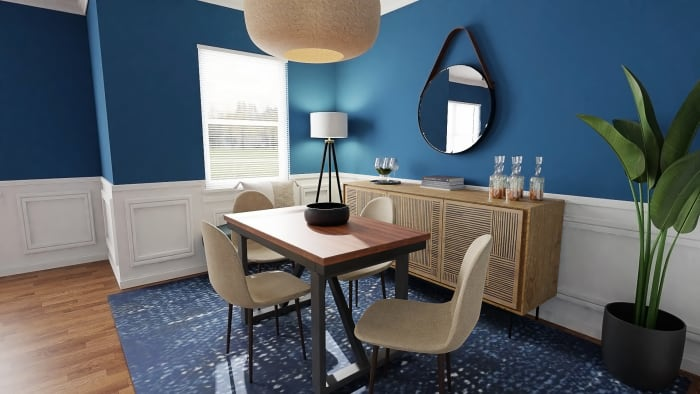 Ultramarine Walls:  Eclectic Transitional Dining Room Design View 2 By Spacejoy