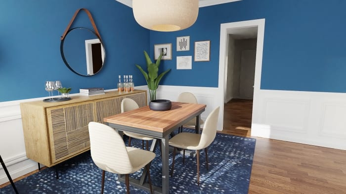 Ultramarine Walls:  Eclectic Transitional Dining Room Design View 3 By Spacejoy