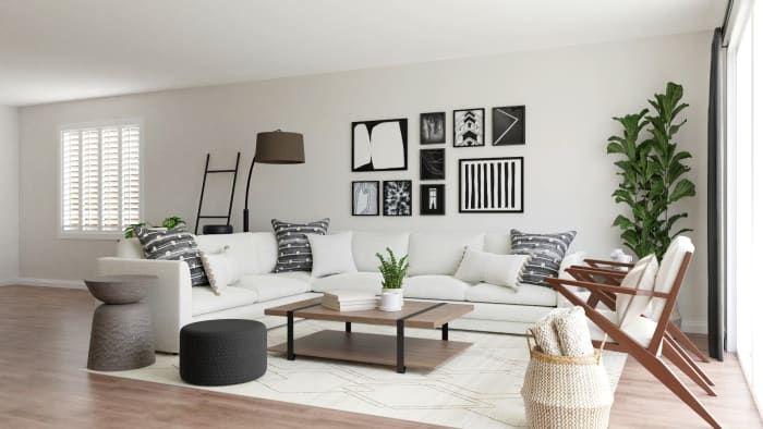 Chic Mid-Century Urban Living Room with Modern Touches Design View 2 By Spacejoy