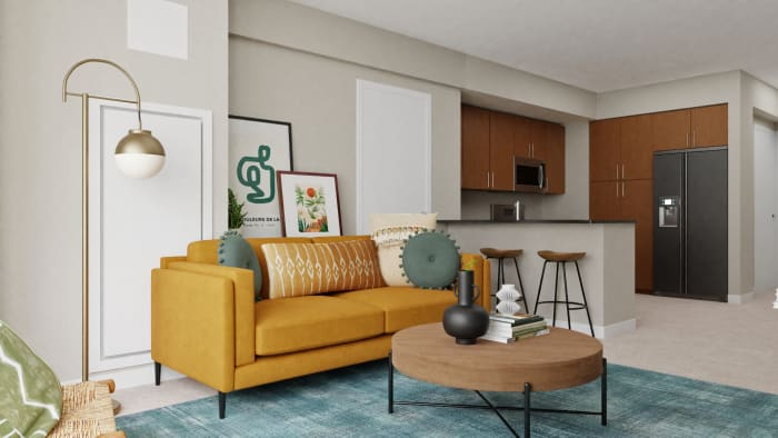 Bold & Sunny Mid-Century Living Room  Design View 4 By Spacejoy