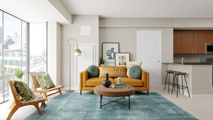 Bold & Sunny Mid-Century Living Room  Design View 5 By Spacejoy